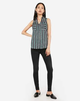 Express Slim Fit Satin Striped Sleeveless Portofino Shirt