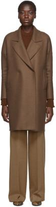 Harris Wharf London Brown Pressed Wool Fitted Sleeves Coat