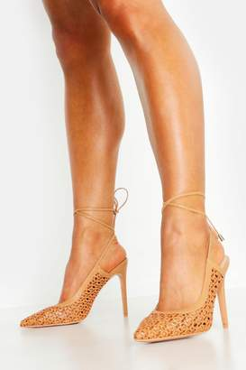 boohoo Woven Wrap Pointed Court Shoes