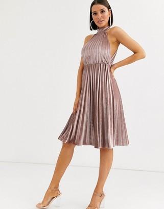 Asos Design DESIGN halter pleated waisted midi dress in velvet-Beige