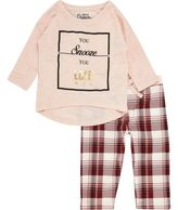 River Island Mini girls pink top check leggings pajama set