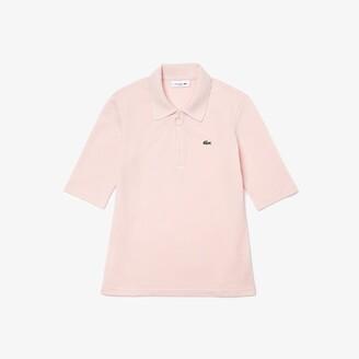 Lacoste Women's Zippered Slim Fit Cotton Pique Polo Shirt