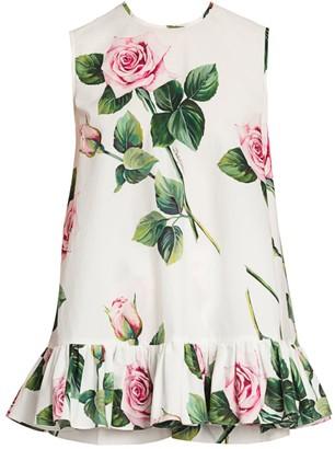 Dolce & Gabbana Rose-Print Poplin Babydoll Top