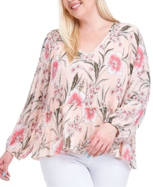Fever Plus Size Printed Pleated Blouse