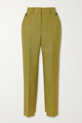 Petar Petrov Hernan Houndstooth Wool And Mohair-blend Tapered Pants - Yellow