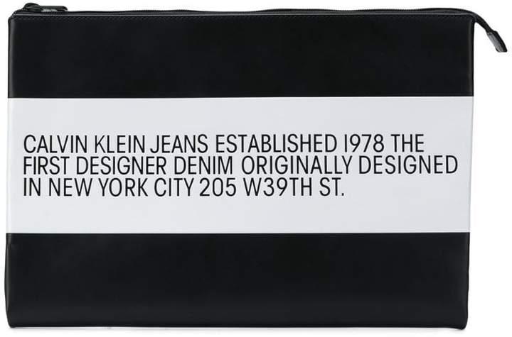 Calvin Klein Jeans Est. 1978 logo striped pouch