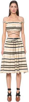 J.W.Anderson Striped Cotton Jersey Top & Skirt