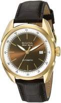 Bulova Men's Stainless Steel and Leather Automatic Watch (Model: 64B127)