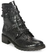 Schutz Suleni Studded Croc-Embossed Leather Boots
