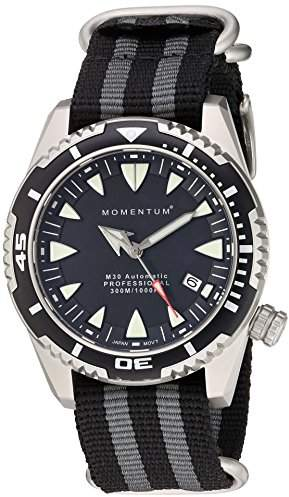 Momentum Men's 'M30' Japanese Automatic Stainless Steel and Nylon Diving WatchMulti Color (Model: 1M-DV30B7S)