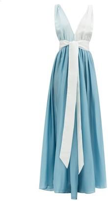 Kalita Adonis Plunging V-neck Silk-habotai Dress - Blue Multi