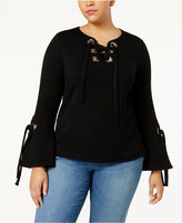 INC International Concepts Plus Size Lace-Up Bell-Sleeve Sweatshirt, Created for Macy's