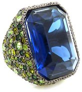 Kenneth Jay Lane Large Sapphire Crystal Rectangular Cocktail Ring