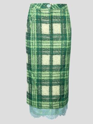 ROWEN ROSE Tartan Lace Trim Skirt