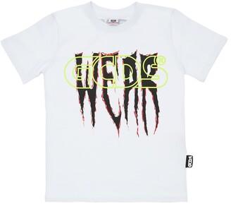 GCDS Logo Print Cotton Jersey T-Shirt