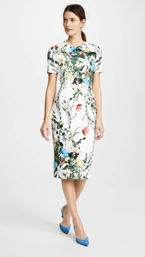 Yigal Azrouel Multi Floral Scuba Body Con Dress