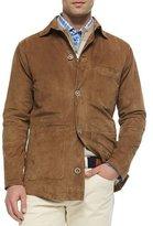 Peter Millar Suede Button-Front Shirt Jacket, Stone