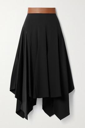Loewe Asymmetric Leather-trimmed Crepe And Satin Midi Skirt - Black