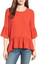 Gibson Women's Ruffled Handkerchief Hem Top