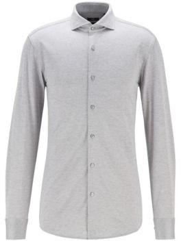 HUGO BOSS Slim-fit shirt in melange natural-stretch cotton