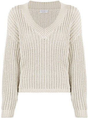 Brunello Cucinelli chunky-knit V-neck jumper