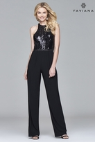 Faviana s8010 Long jersey jumpsuit with sequin bodice