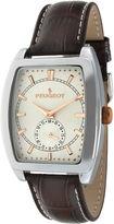 Peugeot Mens Brown Leather Strap Tonneau Watch