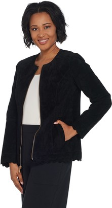 Dennis Basso Washable Suede Collarless Jacket with Scalloped Edge