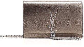 Saint Laurent Fringed Detail Logo Crossbody Bag