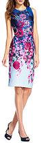 Adrianna Papell Crew Neck Sleeveless Floral Midi Scuba Knit Dress