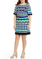 Eliza J Plus Elbow-Sleeve Printed Shift Dress