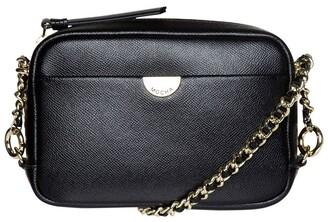 Mocha Premium Chain Leather Crossbody Bag - Black