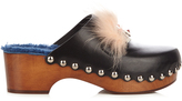 Fendi Hypnoteyes fur-trimmed leather clogs