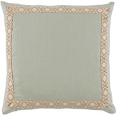 The Well Appointed House Seafoam Green Linen Designer Pillow with Tan Camden Tape