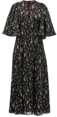 Erdem Alcie Willow-print Metallic-voile Dress - Black Print