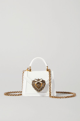 Dolce & Gabbana Devotion Micro Embellished Leather Shoulder Bag - White