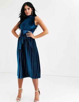 Asos Design DESIGN sleeveless high neck pleated open back velvet midi dress