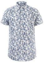 Burton Mens Tall White Short Sleeve Leaf Print Shirt