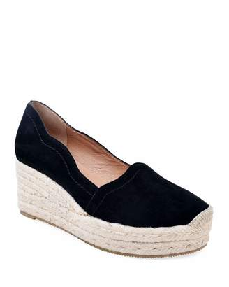 Bettye Muller Concept Reese Scalloped Suede Espadrilles, Black