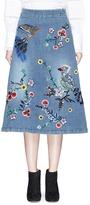 Alice + Olivia 'Libbie' bird and flower embellished A-line denim midi skirt