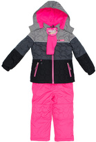 Pink Platinum Gray Circle Quilted Better Snowsuit - Girls