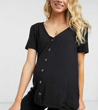 Asos Maternity   Nursing ASOS DESIGN Maternity nursing popper front top with short sleeve in black