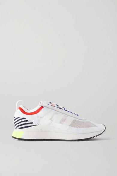 adidas Sl Andridge Leather-trimmed Primeknit Sneakers - White