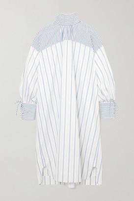 Ganni Net Sustain Tie-detailed Striped Organic Cotton-poplin Dress - White