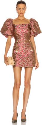 MARKARIAN Camille Puff Sleeve Mini Dress in Pink Brocade | FWRD