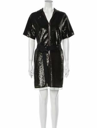 Chloé V-Neck Mini Dress Brown