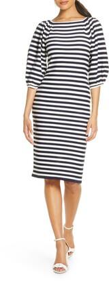 Eliza J Stripe Balloon Sleeve Sweater Dress