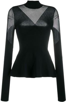 Karl Lagerfeld Paris Mesh Panels Knitted Top