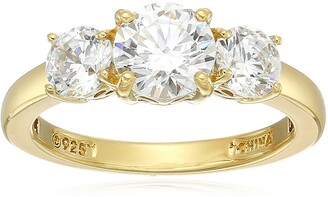 Amazon Collection Yellow Gold Plated Sterling Silver Swarovski Zirconia Round 3-Stone Ring Size 8