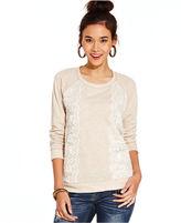 Jolt Juniors Top, Sleeveless Lace-Trim Sweatshirt